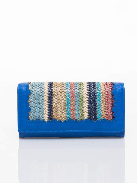 Niebieski portfel z ażurowaniem i plecionką