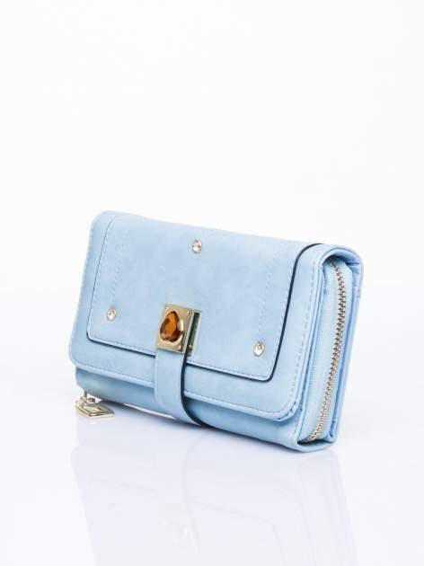 Niebieski portfel z dżetami i ozdobnym zapięciem                                  zdj.                                  3