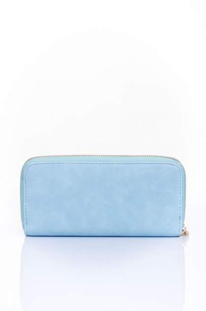Niebieski portfel z kieszonką ze złotym elementem                                  zdj.                                  2