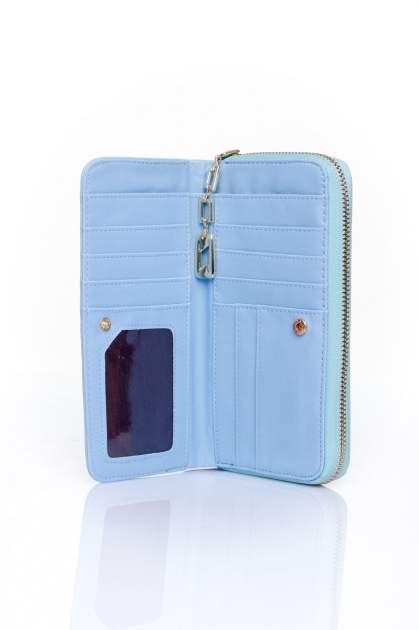 Niebieski portfel z kieszonką ze złotym elementem                                  zdj.                                  4