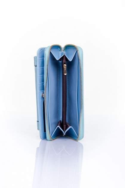 Niebieski portfel z kieszonką ze złotym elementem                                  zdj.                                  5