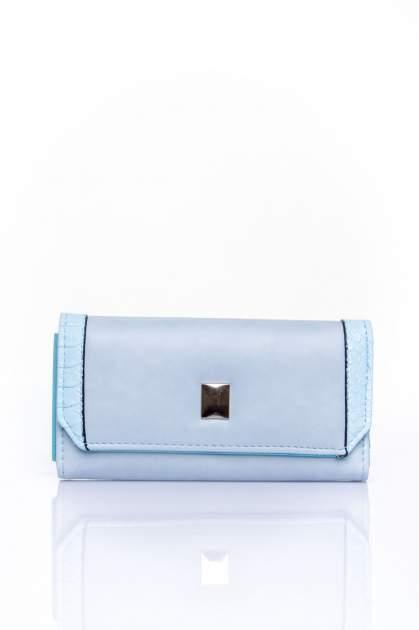 Niebieski portfel z motywem skóry aligatora                                  zdj.                                  1