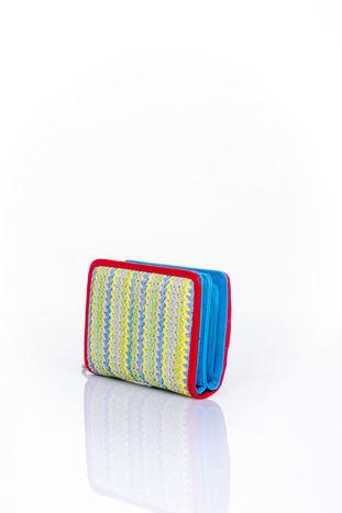Niebieski portfel z plecionkowym wykończeniem                                  zdj.                                  2