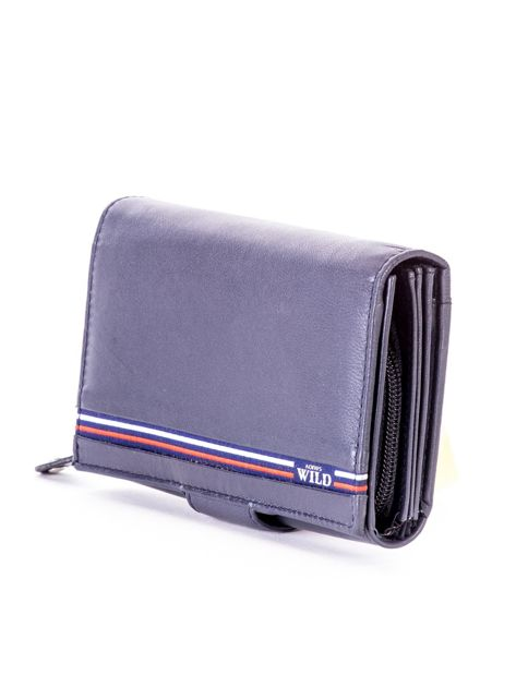 Niebieski skórzany portfel z zapięciem                              zdj.                              3