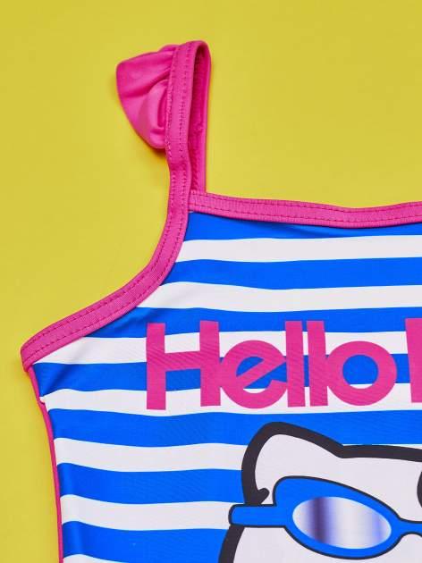 Niebieski strój kąpielowy w paski dla dziewczynki HELLO KITTY                                  zdj.                                  3