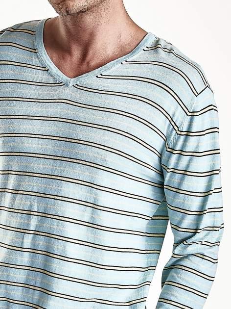 Niebieski sweter męski w paski Funk n Soul                                  zdj.                                  7
