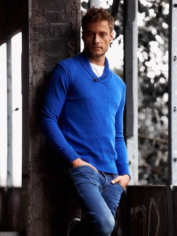 Niebieski sweter męski z kołnierzykiem FUNK N SOUL                                  zdj.                                  1
