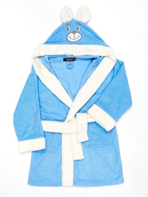 Niebieski szlafrok dziewczęcy MIŚ z kapturem i uszami                              zdj.                              1