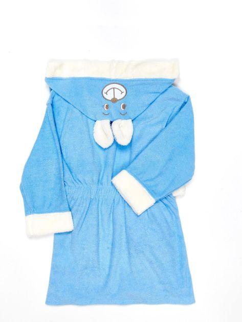 Niebieski szlafrok dziewczęcy MIŚ z kapturem i uszami                              zdj.                              2