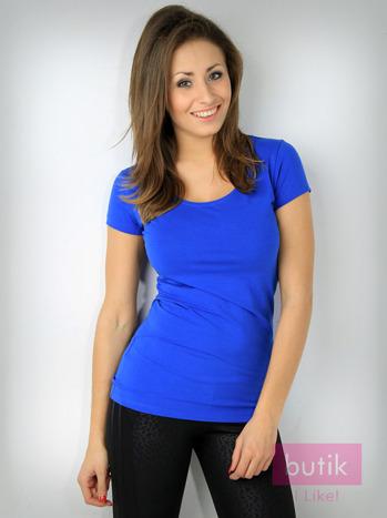 Niebieski t-shirt bawełniany For Fitness