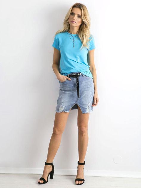 Niebieski t-shirt Peachy                              zdj.                              4