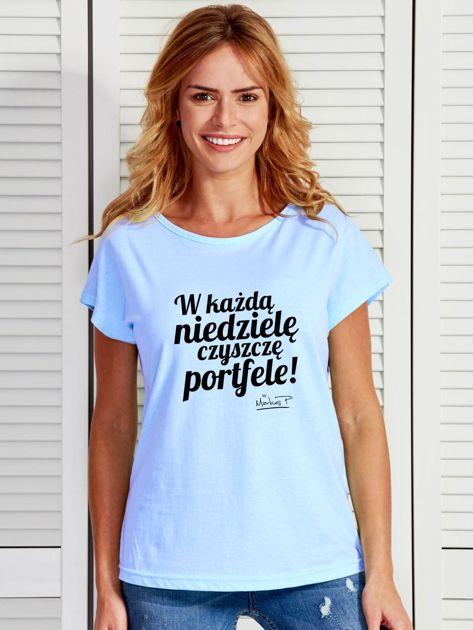 Niebieski t-shirt damski CZYSZCZĘ PORTFELE by Markus P                              zdj.                              1