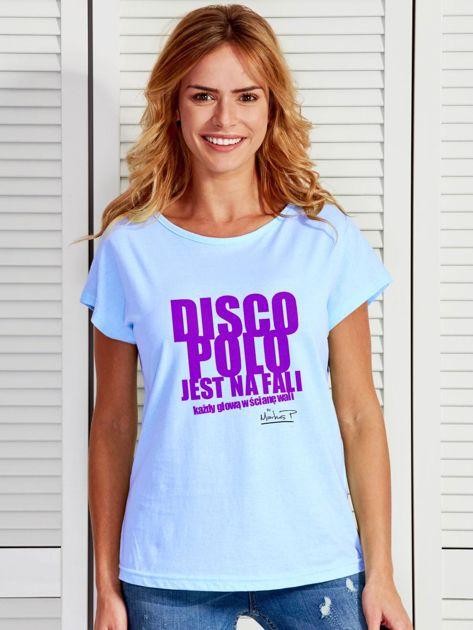Niebieski t-shirt damski DISCO POLO NA FALI by Markus P                                  zdj.                                  1