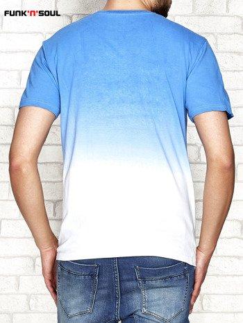 Niebieski t-shirt męski ombre z napisem FUNK N SOUL