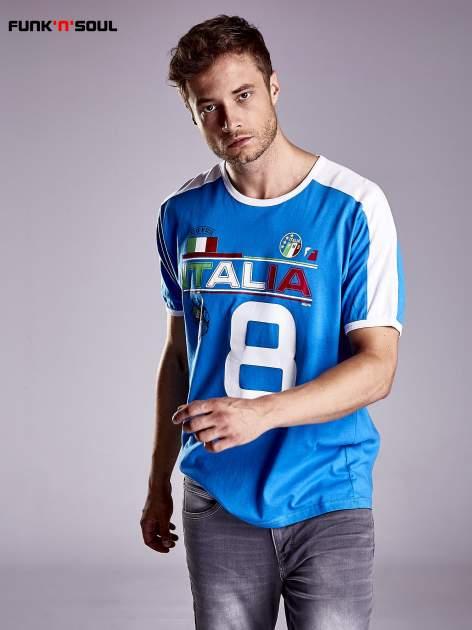 Niebieski t-shirt męski z napisem ITALIA Funk n Soul                                  zdj.                                  1