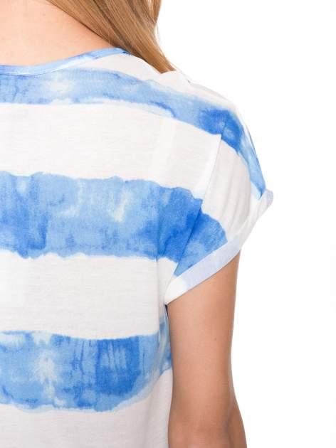 Niebieski t-shirt w paski tie-dye                                  zdj.                                  11