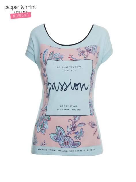 Niebieski t-shirt z nadrukiem PASSION                                  zdj.                                  2