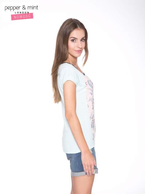 Niebieski t-shirt z nadrukiem PASSION                                  zdj.                                  3