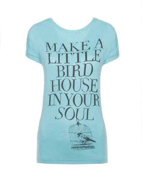 Niebieski t-shirt z nadrukiem ptaszka w klatce
