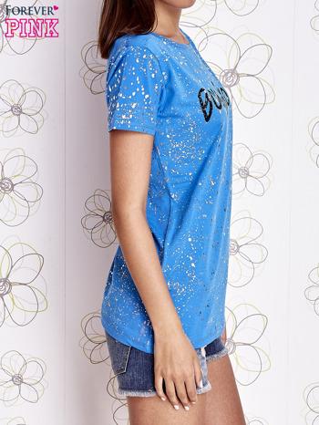 Niebieski t-shirt z napisem BONJOUR                                  zdj.                                  3