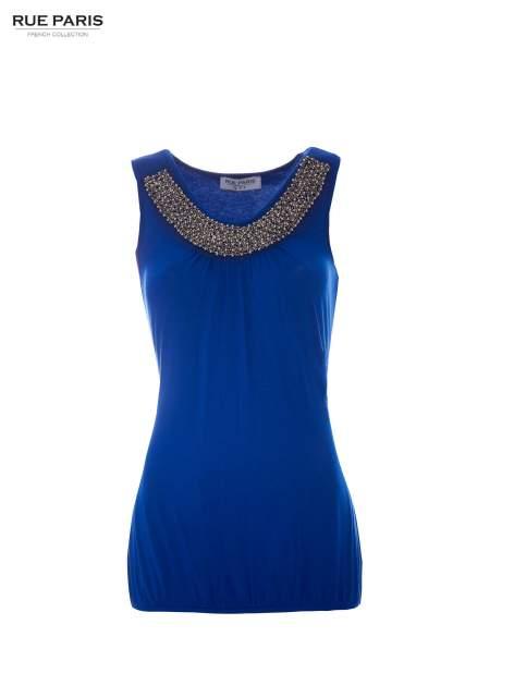 Niebieski top z biżuteryjnym dekoltem                                  zdj.                                  2