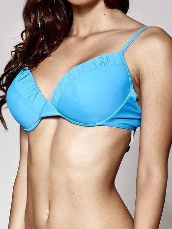 Niebieski usztywniany stanik od bikini wiązany na kokardę                                  zdj.                                  4