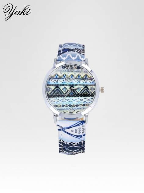 Niebieski zegarek damski z motywem azteckim