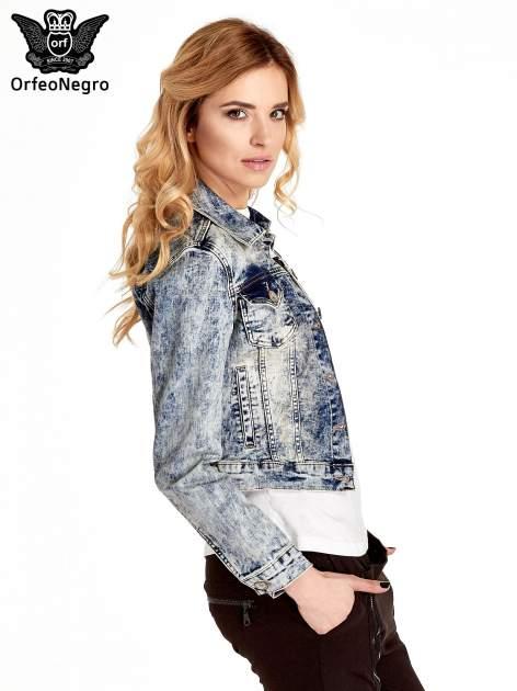 Niebieskia kurtka jeansowa damska marmurkowa z kieszeniami                                  zdj.                                  3