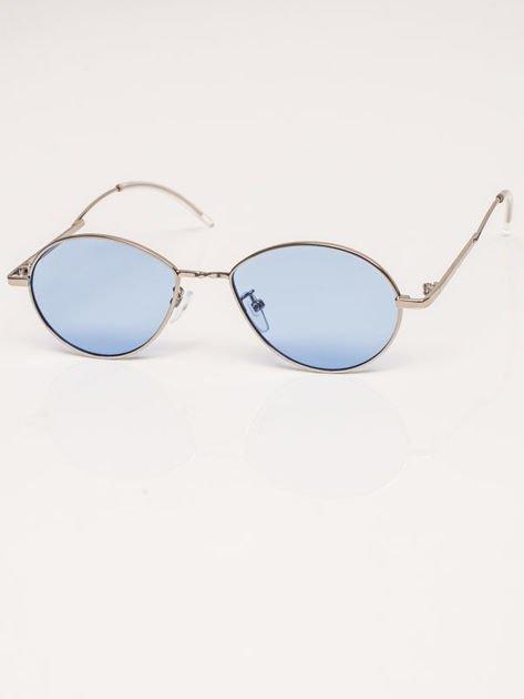Niebieskie Metalowe Owalne Okulary Unisex