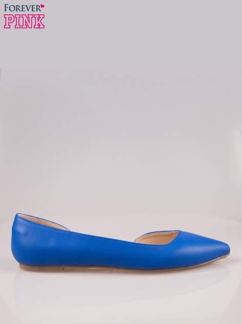 Niebieskie baleriny faux leather Cookie w szpic z wycięciem z boku                                  zdj.                                  1