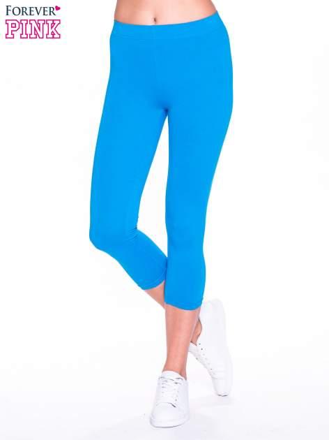 Niebieskie bawełniane legginsy 3/4                                  zdj.                                  1