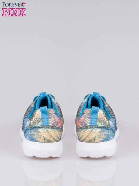 Niebieskie buty sportowe synthetic Palm Springs z motywem exotic print                                  zdj.                                  3