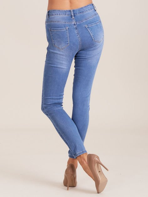 Niebieskie denimowe spodnie damskie                              zdj.                              2