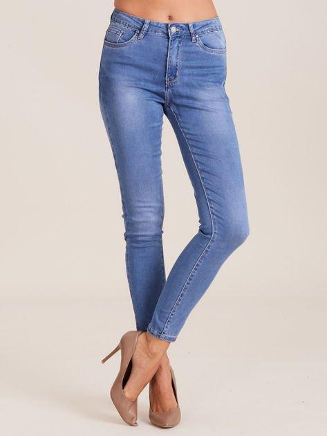 Niebieskie denimowe spodnie damskie                              zdj.                              1