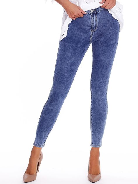 Niebieskie denimowe spodnie high waist                              zdj.                              1
