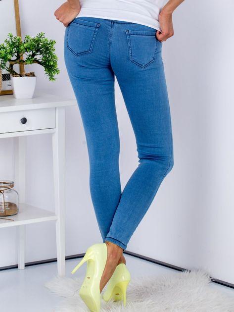Niebieskie dopasowane jeansy high waist ze stretchem                              zdj.                              2