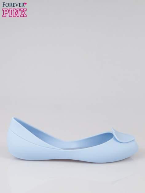 Niebieskie gumowe baleriny meliski z sercem