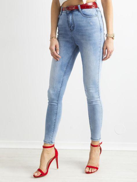 Niebieskie jasne jeansy rurki z wysokim stanem                              zdj.                              1