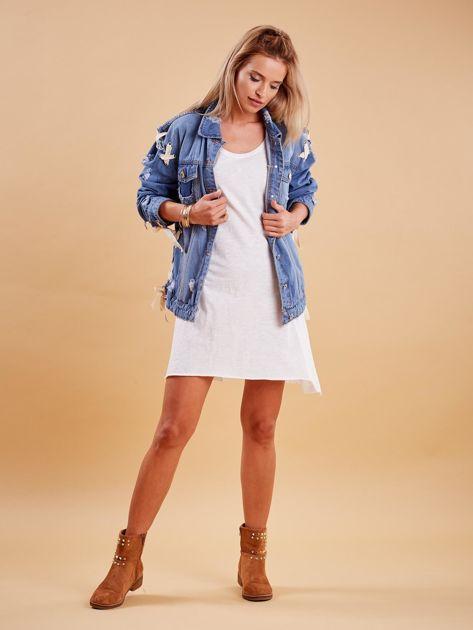 Niebieskie jeansowa kurtka z przedarciami                               zdj.                              4