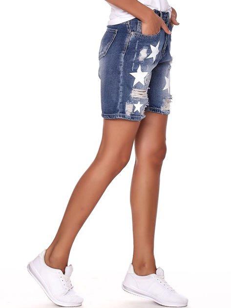 Niebieskie jeansowe bermudy z dziurami i wysokim stanem                              zdj.                              3
