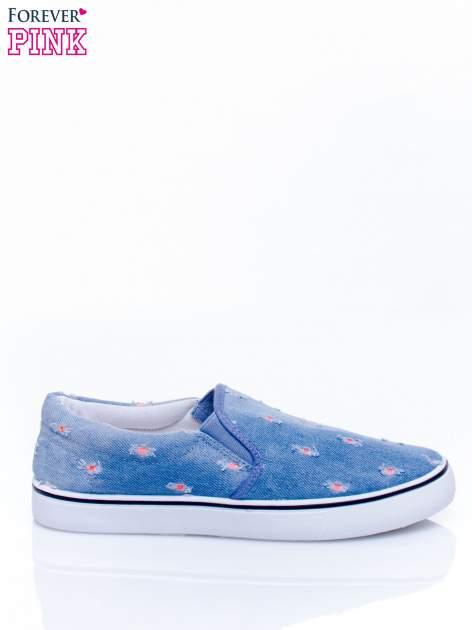 Niebieskie jeansowe buty slip on z przetarciami                                  zdj.                                  2