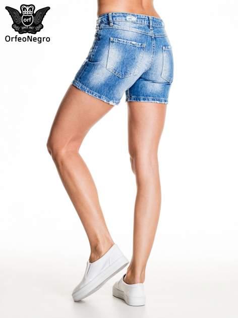 Niebieskie jeansowe szorty z dżetami                                  zdj.                                  4