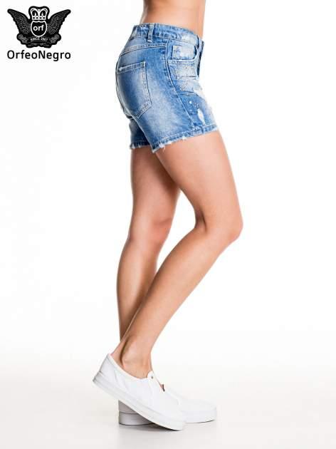 Niebieskie jeansowe szorty z dżetami                                  zdj.                                  5