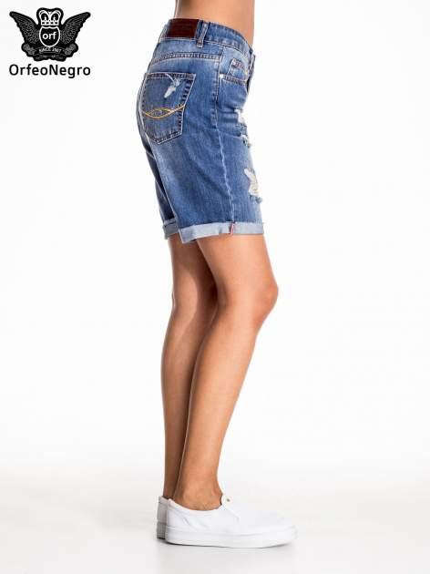Niebieskie jeansowe szorty z podwijaną nogawką                                  zdj.                                  4