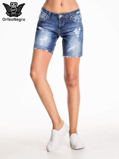 Niebieskie jeansowe szorty z przecieraną nogawką                                  zdj.                                  3