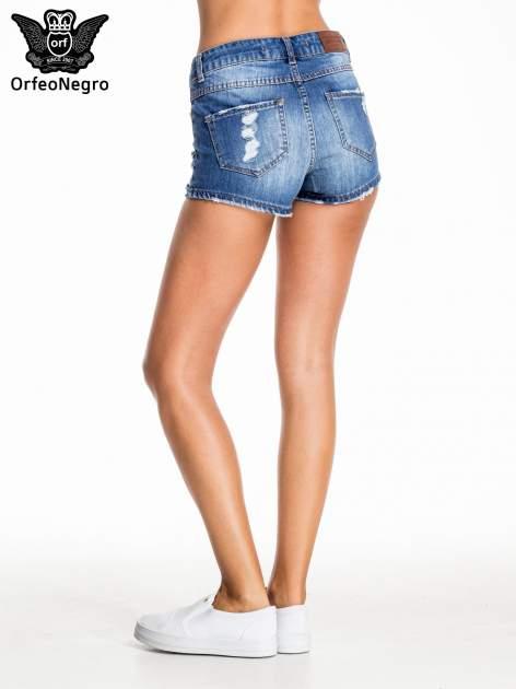 Niebieskie jeansowe szorty z przetarciem                                  zdj.                                  5