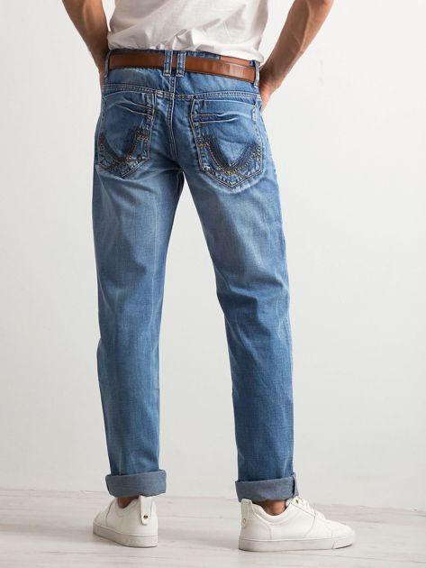 Niebieskie jeansy męskie regular fit                              zdj.                              2