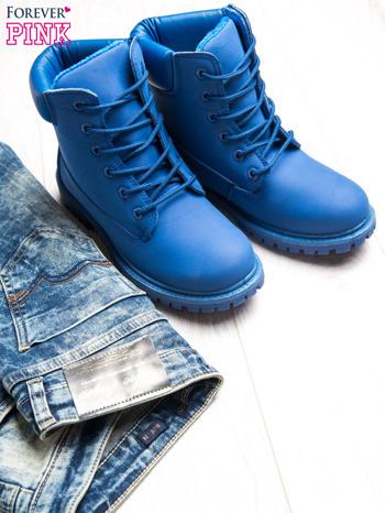 Niebieskie jednolite buty trekkingowe Westie damskie traperki ocieplane                                  zdj.                                  1
