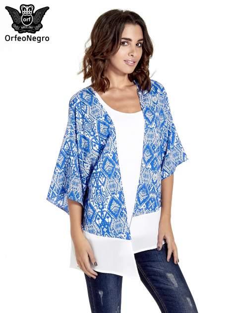 Niebieskie kimono w etniczne wzory z modułem na dole                                  zdj.                                  1
