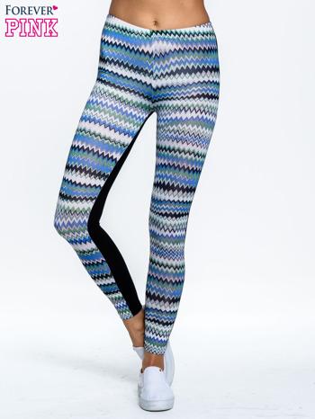 Niebieskie legginsy two tone w etniczny wzór